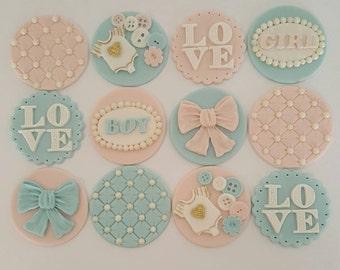 12 x Baby Shower Cupcake Toppers - Fondant Handmade