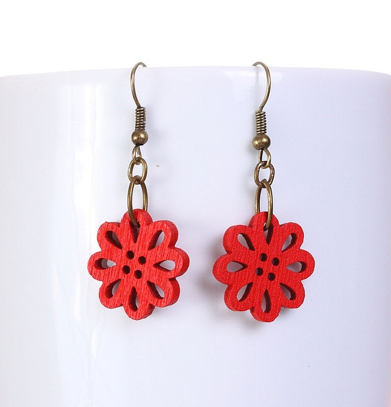 Sale Clearance 20% OFF - Red wood flower drop earrings (570)
