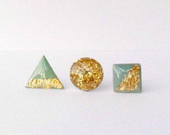 Three mint gold post earrings, round posts, geometric set of studs, triangle earrings, square studs, bridesmaid gift