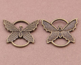 4pcs- 2 loop bronze tone butterfly charm connector-brass connector