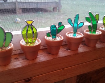Set of 6 Stained glass cactus! Great gift for the plant or succulent lover! Save when you buy the set!