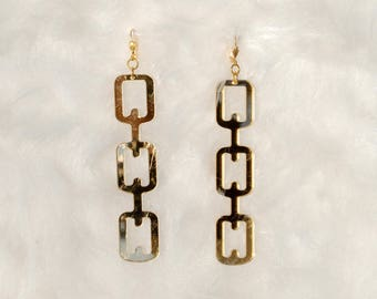 Acrylic Chain Earrings // Laser Cut // Gold, Silver & Clear