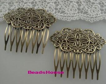 HC-36-B-Ant  3pcs (  8Teeth)Antique Brass Filigree hair combs,Nickel Free