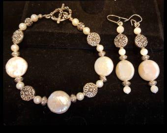 Pearls and sterling bracelet with earrings from Mermaids Treasure Series