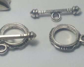 2 shape Toggle CLASPS in antique silver