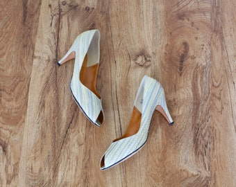 vintage 1980s pastel reptile skin leather peep toe high heel pump shoes 7.5 8