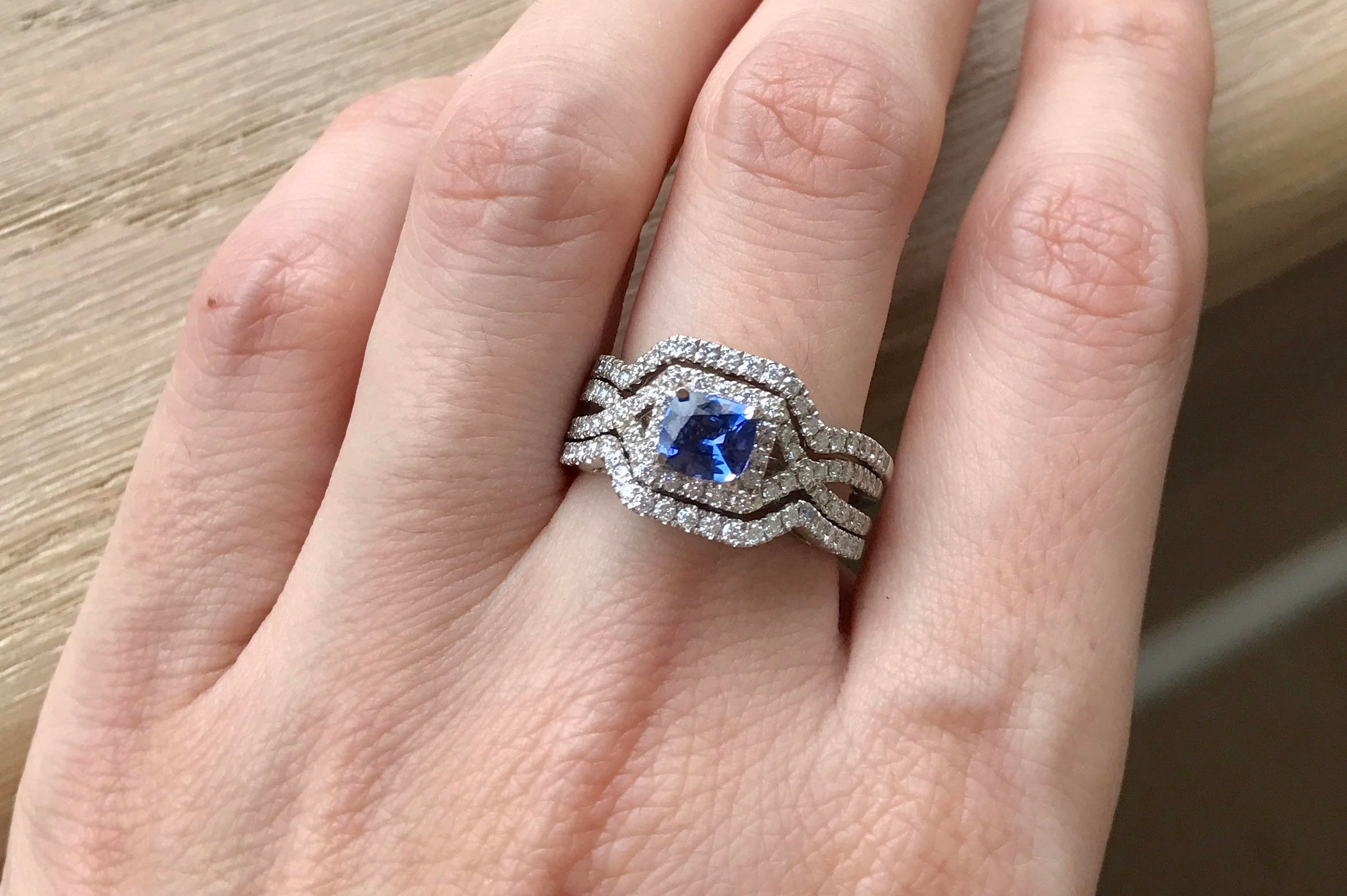 Deco Halo Sapphire Engagement Ring Set- Square Blue Sapphire ...