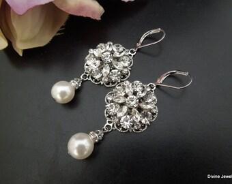 Bridal Earrings, Pearl Rhinestone Earrings, Statement Bridal Earrings, Pearl Bridal Earrings, chandelier bridal earrings, pearl,  ALEXANDRA