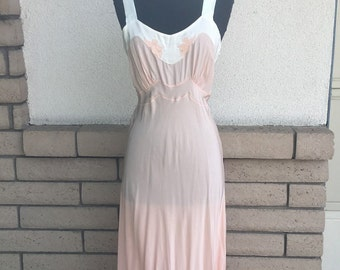 50s Rayon Nightgown, Peach Gown, Angel Slip Bias Cut by Dwalyne, Deadstock, New w/tag Size 34 XS-S