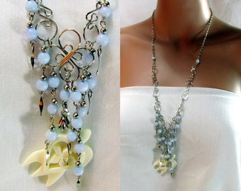 Ivory Bone Turtle Necklace | Pale Blue and Silver Beads | Long Silver Tone Swirl Chain | Earrings Ocean Set