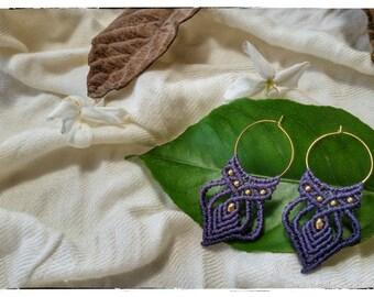 macrame earrings, purple earrings, boho, macrame handmade, tribal earrings, micro macrame, macrame jewelry, brass beads, brass hoops