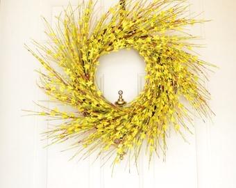 Yellow Spring Wreath Spring Wreath Yellow Forsythia Bright Yellow Grapevine wreath Front Door Decor