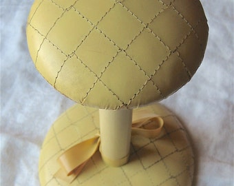 Yellow Vinyl Hat Stand - Vintage Covered Wooden Hat or Wig Holder - Quilted Tabletop Hat Display or Shelf Storage - Shabby Chic Photo Prop