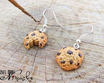 Half chewed cookies (fimo) gift polymer clay earrings Christmas birthday girl funny charm bracelet
