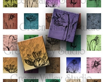 INSTANT DOWNLOAD Original Art Flowers Floral Digital Images Collage Sheet for Scrabble Tile Pendants .75 x .875 Inch (S3)