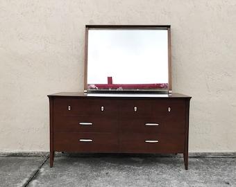 Mid-Century Modern Drexel Profile Dresser and Mirror