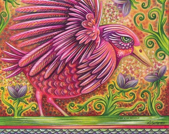 """Abundant In Beauty - an 8 x 10"""" ART PRINT of a hot pink bird full of energy and joy as she runs amidst toasty oranges & lilac purples"""