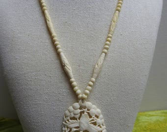 stunning vintage handmade carved crane and cherry blossom bone filigree necklace,hand carved necklace,bone jewelry,gift for her,