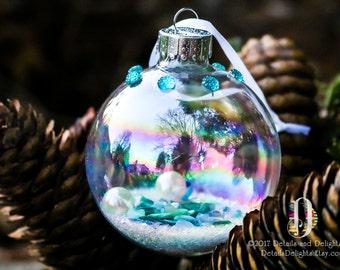 Aqua turquoise diamant Turquoise verre ornement rond, perle coquillage neige paillettes perle de cristal bijou Noël vacances décor d'arbre