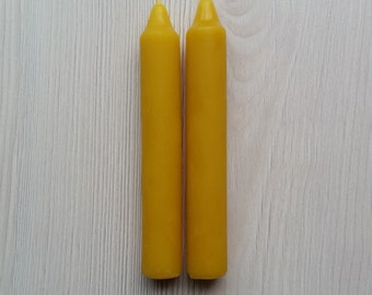 Beeswax Candle   100% pure organic beeswax   Handpoured   Dinner Candles (pair) 12cm