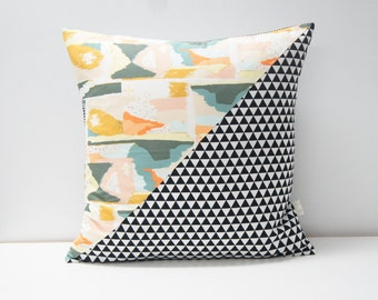 Patchwork Pillow Cover, 20x20, black and white triangles and abstract