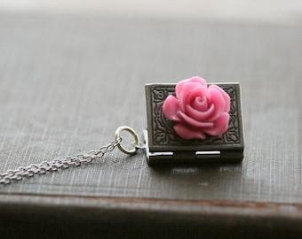 Book Locket, Silver Locket Necklace, Silver  Book Locket,  Flower Locket, Pink, Jewelry Silver Locket - Amelie