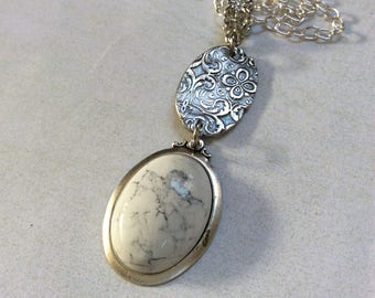 Oval fine silver pendant.Floral paisley etched pendant.White howlite oval pendant necklace.