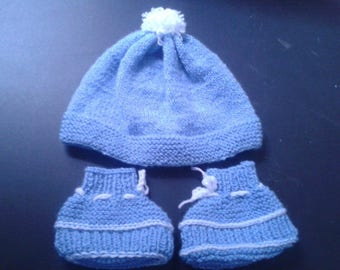 set Hat more blue baby Bootie
