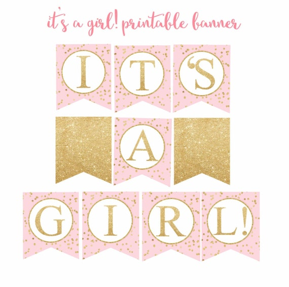 Its A Girl Banner Template Pink and Gold B...