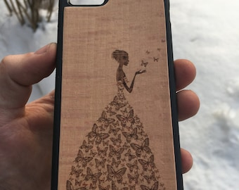 Wood Case for iPhone Butterfly girl