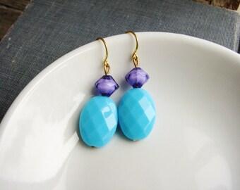Blue Statement Earrings, Boho Earrings, Simple Dangle Earrings, Bohemian Earrings, Minimalist Earrings
