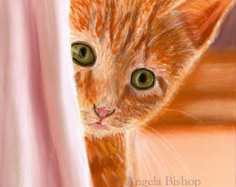 Cat Painting Print, Can You See Me, Orange, Cat Print, Art Print, Cat, Pet, Portrait, 5 x 7, Realism, Giclee, Pastel, Painting, Fine Art
