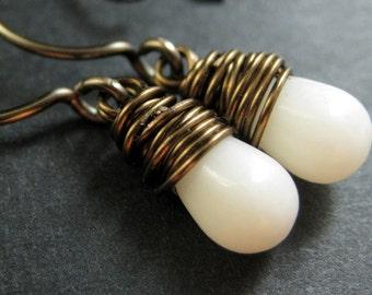 BRONZE Earrings - White Coral Earrings. Wire Wrapped Earrings. White Teardrop Earrings. Handmade Jewelry.