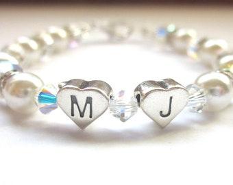 Swarovski Pearl and Crystal Initial Bracelet, Confirmation/Communion Bracelet, Sterling Silver, Keepsake Bracelet