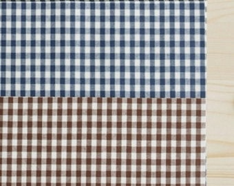 """Matte Laminated 20's Cotton Fabric by the yard 4mm Check_ Black, Navy, Brown, Green_43.3"""" wide 144426"""