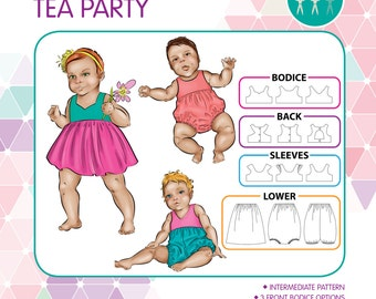 PATTERN Baby Tea Party - PDF Sewing Pattern - Instant Download - Tadah Patterns