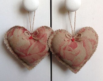 2 Large Linen Lavender Heart Sachets-Heart Door Hangers-Rose Linen Hearts-Lavender Filled hearts-Vintage roses Linen Fabric