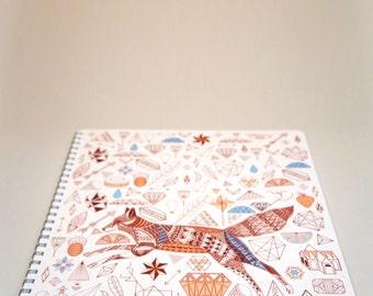 A4 Lined Notebook - Fox + Diamonds