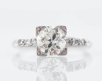 Antique  Engagement Ring Art Deco .94 Old European Cut Diamond in 18k White Gold