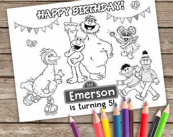 6 Sesame street Digital Coloring, Printable Elmo Birthday, Sesame Street Birthday, Personalized
