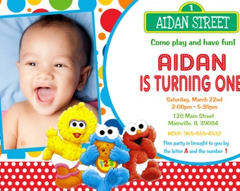Baby Elmo Sesame Street First Birthday Invitation -  Digital or Printed