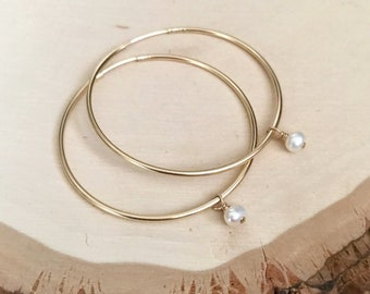 40mm 14k Goldfill Endless Hoop Earrings with White Freshwater Pearl Charms. Hypoallergenic