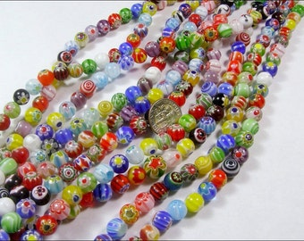 5mm BEADS Millefiori FLOWER Assorted Artsy Stress Relief fiori Lamp work Glass Round Beads  65pc