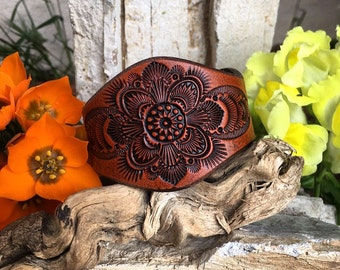 The Hellebore Spring Flower Leather Cuff