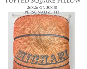 STUFFED Pillow-Basketball Floor Pillow-Sports Decor-Round Floor Pillow-Basketball Decor-Floor Cushion-Personalized Pillow-Tufted Pillow