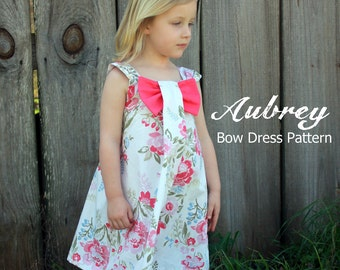 Aubrey - Bow Dress PDF Sewing Pattern. Girl's Dress Pattern. Kids Clothing. Toddler Pattern. Sizes 12m-8 included