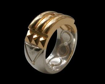 Atlantis ring - Sterling Silver Atlantis Ring- 24k Gold Plated -Bright Finish-  ALL SIZES