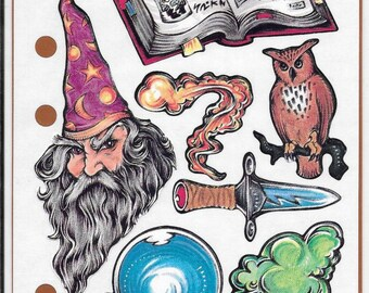 Stickopotamous Wizardry Binder Stickers, Scrapbooking, Mixed Media, Altered Art, Halloween, New and Unused