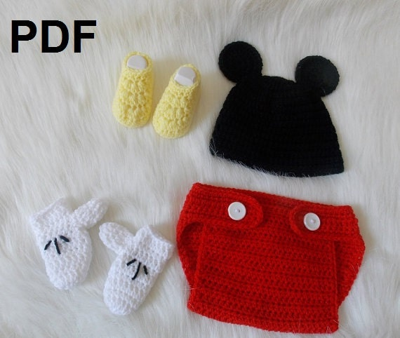 Items Similar To Newborn Mickey Inspired Crochet Outfit Pattern Pdf