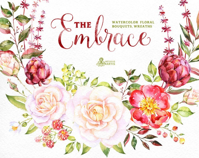 The embrace watercolor bouquets and wreaths roses wedding watercolor bouquets and wreaths roses wedding invitation floral greeting card diy clip art flowers romantic christmas m4hsunfo